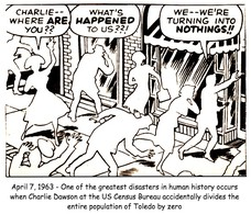 Deleted scene from Charlie and the Chocolate Factory, in which Charlie accidentally turns up the thermostat in the Room of Tiny White Chocolate People April 23, 1963 - One of the greatest disasters in human history occurs when Charlie Dawson at the US Census office accidentally divides the population of Toledo by zero April 18, 1963 - One of the greatest disasters in human history occurs when Charlie Dawson at the US Census Bureau accidentally divides the population of Toledo by zero April 23, 1963 - One of the greatest disasters in human history occurs when Charlie Dawson at the US Census Bureau accidentally divides the population of Toledo by zero April 7, 1963 - One of the greatest disasters in human history occurs when Charlie Dawson at the US Census Bureau accidentally divides the entire population of Toledo by zero