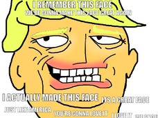I REMEMBER THIS FACE I ACTUALLY MADE THIS FACE ITS A GREAT FACE JUST LIKE AMERICA YOU'RE GONNA LOVE IT I LOVE IT WE SHOULD ALL LOVE IT WE'RE GONNA MAKE THIS FACE GREAT AGAIN