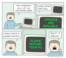WINDOWS HAS A NEW UPDATE UPDATES ARE AVAILABLE  PLEASE RESTART YOUR PC