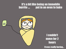 It's a bit like being an immobile  burrito being put in an oven to bake I couldn't move for 2 hours It was really boring... ...
