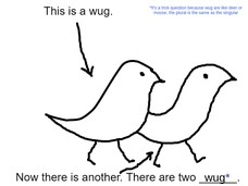 wug wug* *It's a trick question because wug are like deer or moose, the plural is the same as the singular