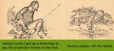 Goofus works hard as a fisherman to pay his protection money to the mob. Gallant works hard as a fisherman to pay his protection money to the mob. Goofus sleeps with the fishes.