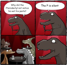 The P is silent Why did the Pterodactyl not notice he wet his pants? *pees a little bit